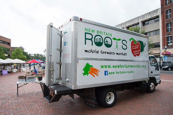 08/21/19 Wesley Bunnell | Staff The ROOTS mobile farmers market truck at Central Park on Wednesday afternoon August 21, 2019.