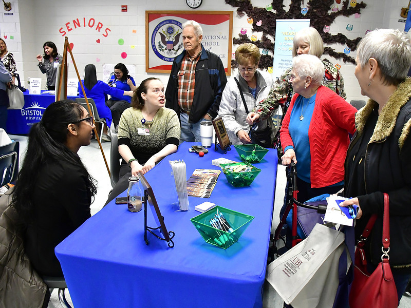4/6/2019 Mike Orazzi | Staff The Pines' Sheriza Saffar and Kelly Dube during the 5th Annual Connecticut Prime Time Senior Fair Saturday at Bristol Eastern High School.