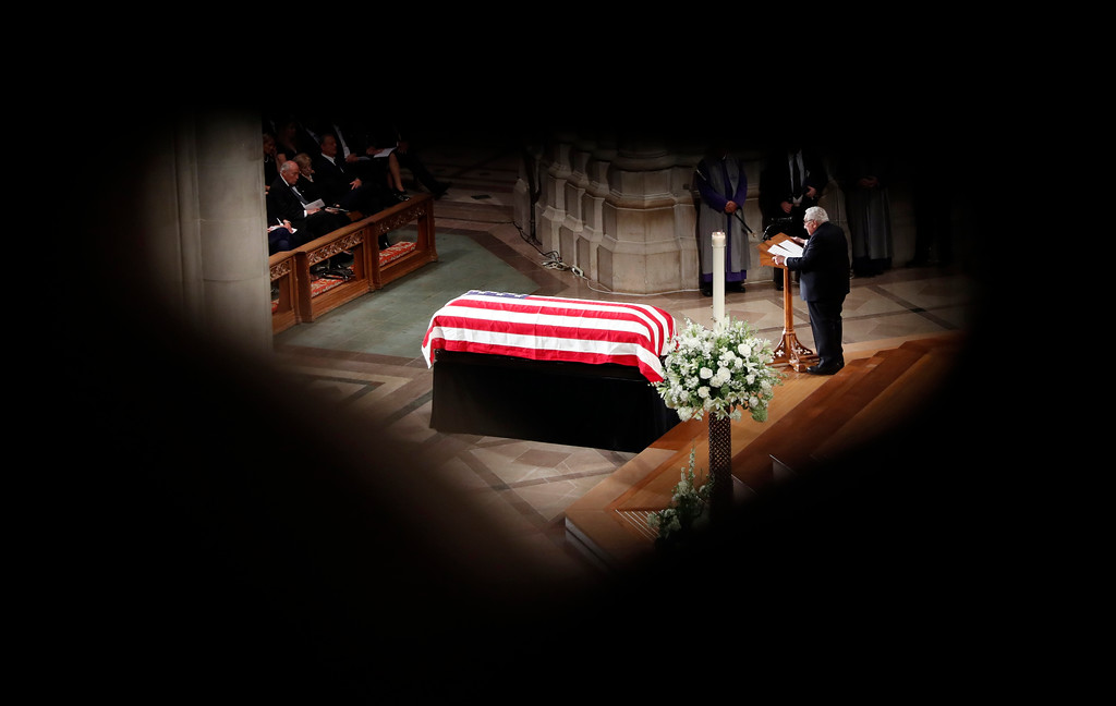 . Former Secretary of State Henry Kissinger speaks at a memorial service for Sen. John McCain, R-Ariz., at Washington National Cathedral in Washington, Saturday, Sept. 1, 2018. McCain died Aug. 25, from brain cancer at age 81. (AP Photo/Pablo Martinez Monsivais)