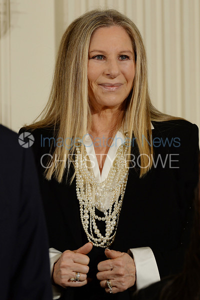Barbara Streisand looks out into the audience at her husband during the Presidential Medal of Freedom Awards at the White House.