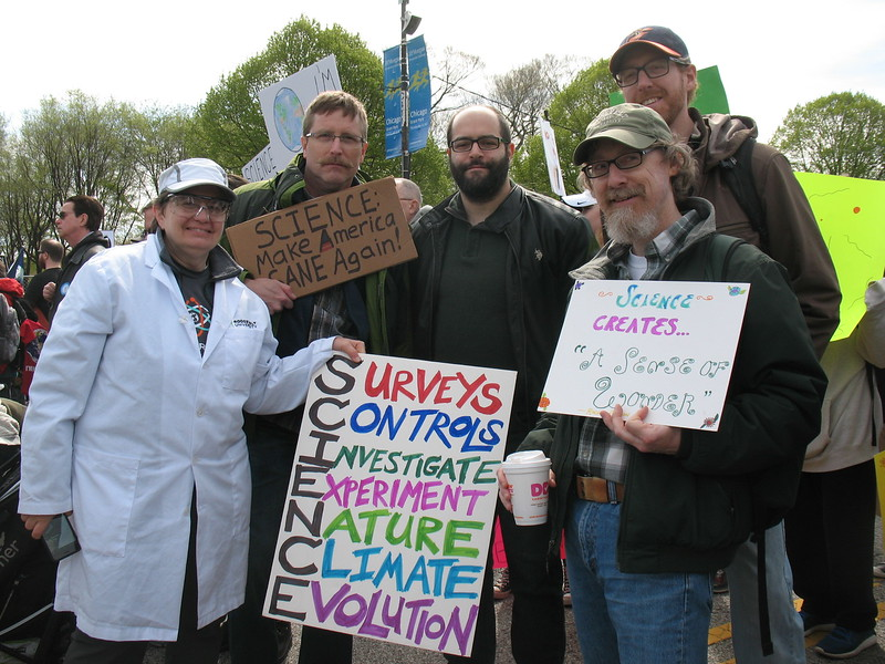 Vicky McKinley, Andy Neill, Mark Kaufman, Mike Bryson, and Dan Cryer from RU and JJC at the March for Science in Chicago