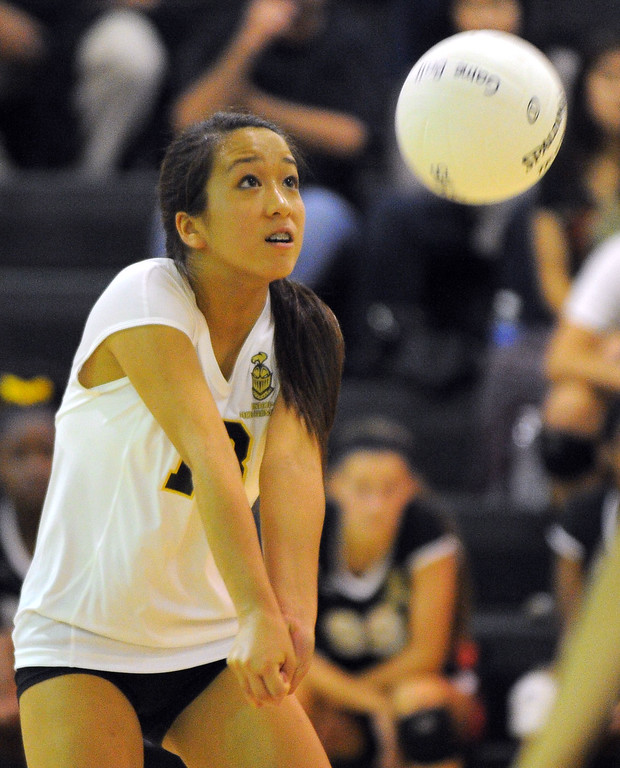 . Redondo girls volleyball takes on Bishop Montgomery in a non league match in Torrance on 09/10/2013. Redondo won 3-0. Bishop\'s Jessica Seto digs a served ball. (Photo by Scott Varley, Daily Breeze)