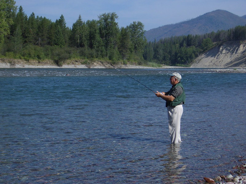 Papaw fishing on the North Fork, Flathead River.