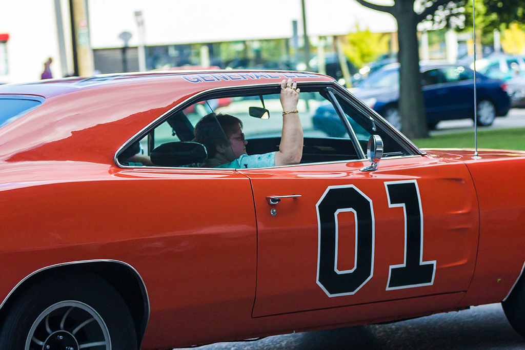 """. One of the more common appearances was a replica of \""""The General Lee\"""", the 1969 Dodge Charger driven in the television series The Dukes of Hazzard. Photo by Dylan Dulberg"""