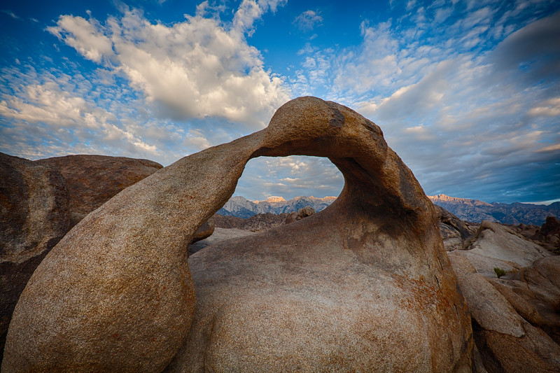 Mobius Arch with alpenglow on Mt. Whitney, Alabama Hills