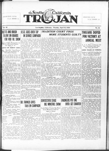 The Southern California Trojan, Vol. 11, No. 84, April 15, 1920