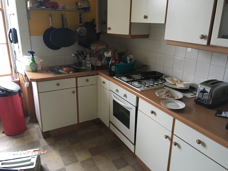 Basic student flat kitchen before