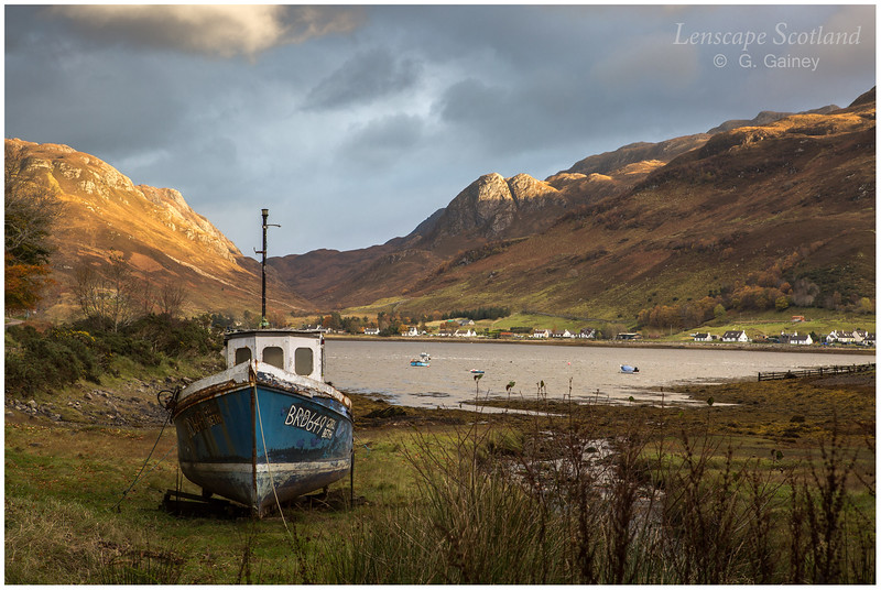 beached fishing boat, Conchra, Loch Long