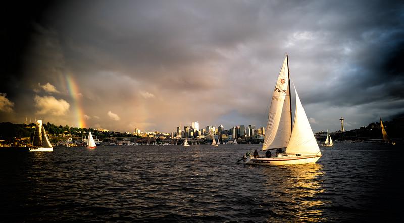 Rainbow over Lake Washington, Seattle