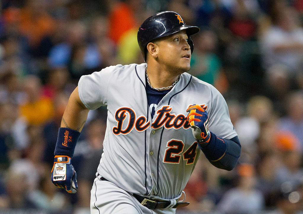 . Detroit Tigers\' Miguel Cabrera watches a fly ball to center field for an out in the fourth inning of a baseball game Saturday, June 28, 2014, in Houston. The Tigers won 4-3. (AP Photo/ The Courier, Jason Fochtman)