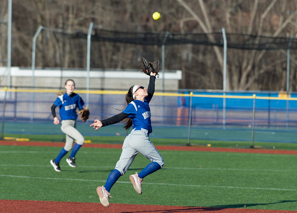 04/03/19 Wesley Bunnell | Staff Bristol Eastern softball defeated Plainville at Plainville High School on Wednesday afternoon. Taylor Keegan (5) reaches for but is unable to come up with a catch.