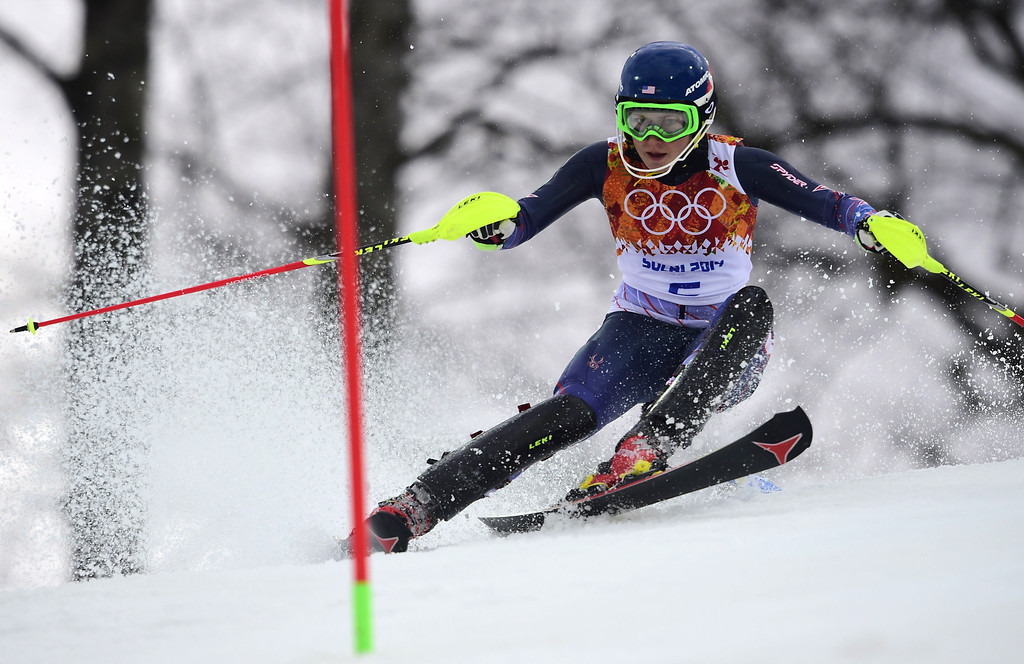 . US skier Mikaela Shiffrin competes during the Women\'s Alpine Skiing Slalom Run 1 at the Rosa Khutor Alpine Center during the Sochi Winter Olympics on February 21, 2014.  OLIVIER MORIN/AFP/Getty Images