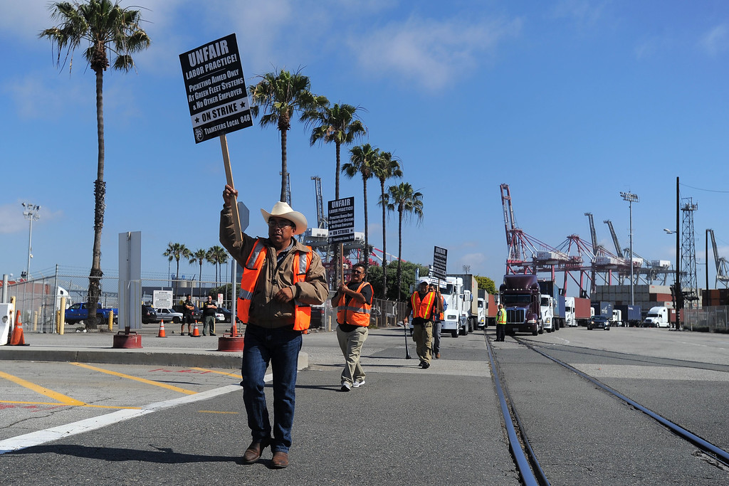 . Teamsters picket the Long Beach Container Terminal in Long Beach, CA on Monday, April 28, 2014. Teamsters are planning a 48-hour strike at the ports of Long Beach and Los Angeles in support of truckers. (Photo by Scott Varley, Daily Breeze)