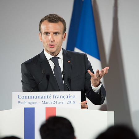 President Macron at the French Embassy in DC on April 24, 2018