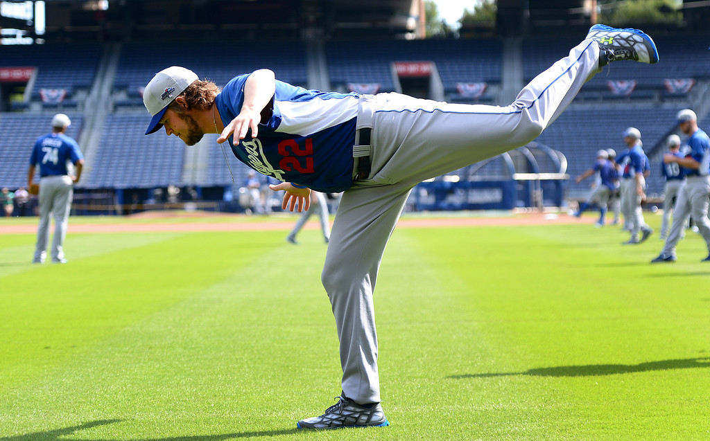 . Los Angeles\' Dodgers\' Clayton Kershaw works out Wednesday, October 2, 2013 as they get ready for the first playoff game against the Atlanta Braves Thursday at Turner Field in Atlanta, Georgia. (Photo by Sarah Reingewirtz/Pasadena Star- News)