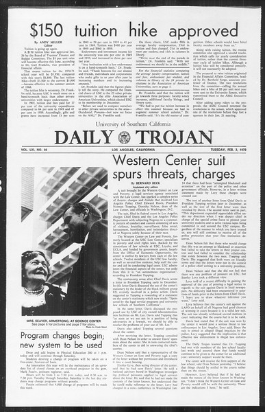 Daily Trojan, Vol. 61, No. 66, February 03, 1970