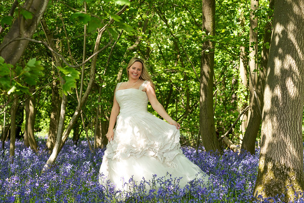 Bridal Portraits in Bluebell Woods