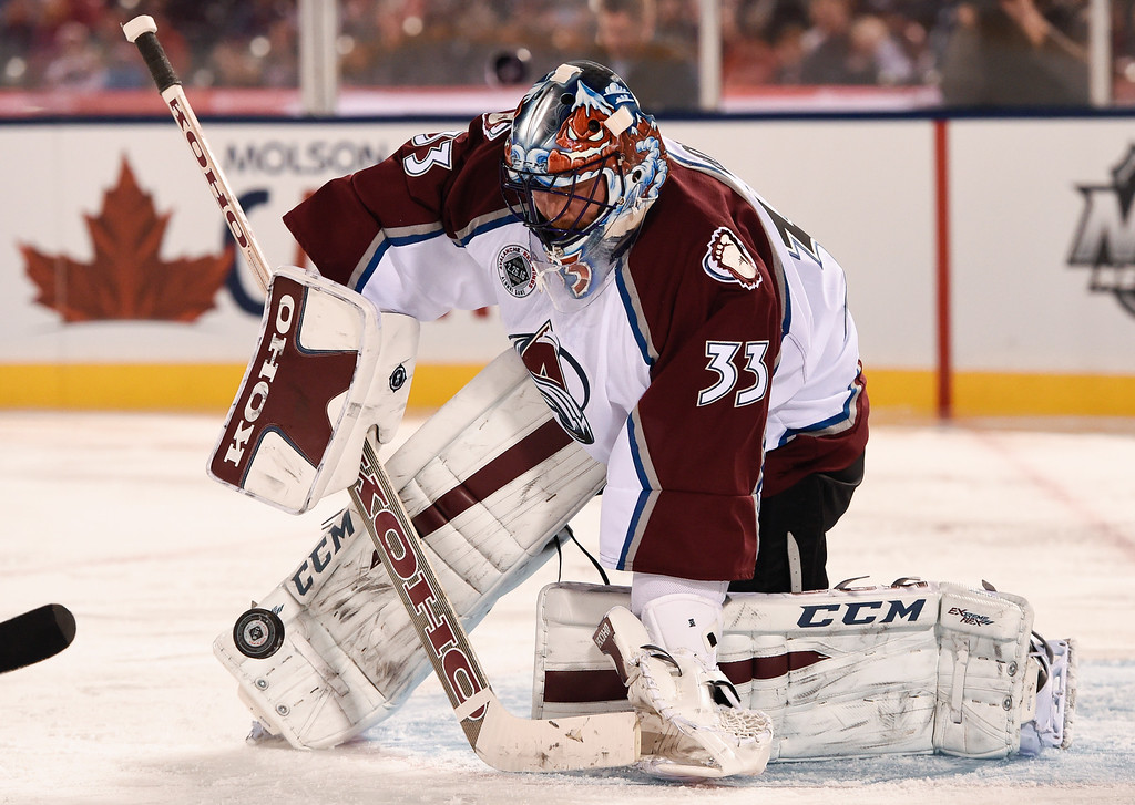 . DENVER, CO - FEBRUARY 26: Colorado Avalanche G Patrick Roy (33) makes a save during the second period against the Detroit Red Wings February 26, 2016 at Coors Field. The Avalanche defeated the Red Wings 5-2. (Photo By John Leyba/The Denver Post)