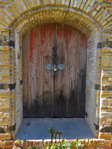 Locked door in Fort Willoughby Garrison House on Hassel Island, St Thomas