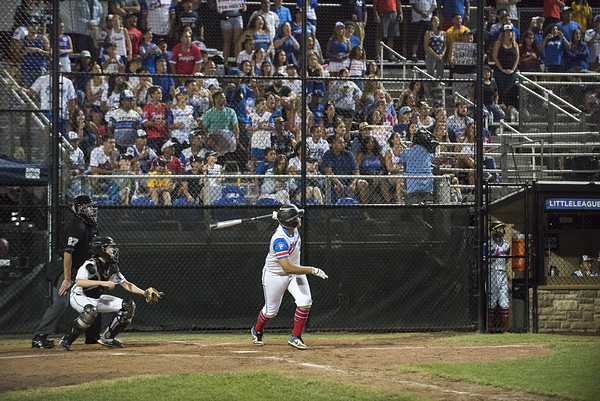 08/09/19 Wesley Bunnell | Staff New Jersey defeated Washington, DC on Friday August 9, 2019 in a Little League Baseball Eastern Regional Tournament game with New Jersey heading to the final on Saturday to face New York. Family and fans on their feet during Yady Mateo's (28) at bat.