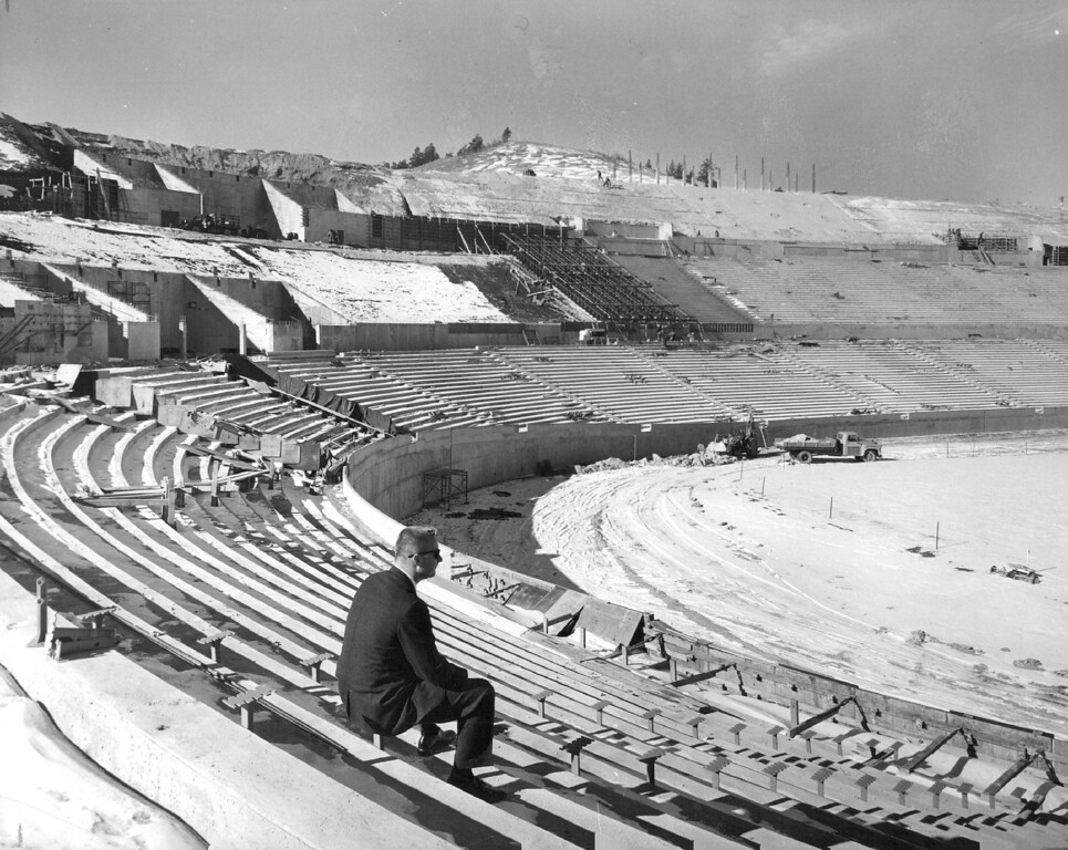 . Air Force Academy officials announced this week that nearly 70 percent. of their 40,000- seat Falcon Stadium is completed. Warren Goodrich, AFA sports publicity director, surveys progress. The stadium is expected to be completely finished prior to the AFA\'s opening game of the 1962 season against Colorado State University. 1962. The Denver Post Library Archive