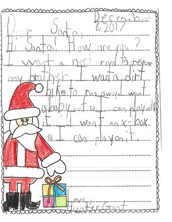 Letters to Santa, Mrs. Hamilton's second grade, 12/8/2017