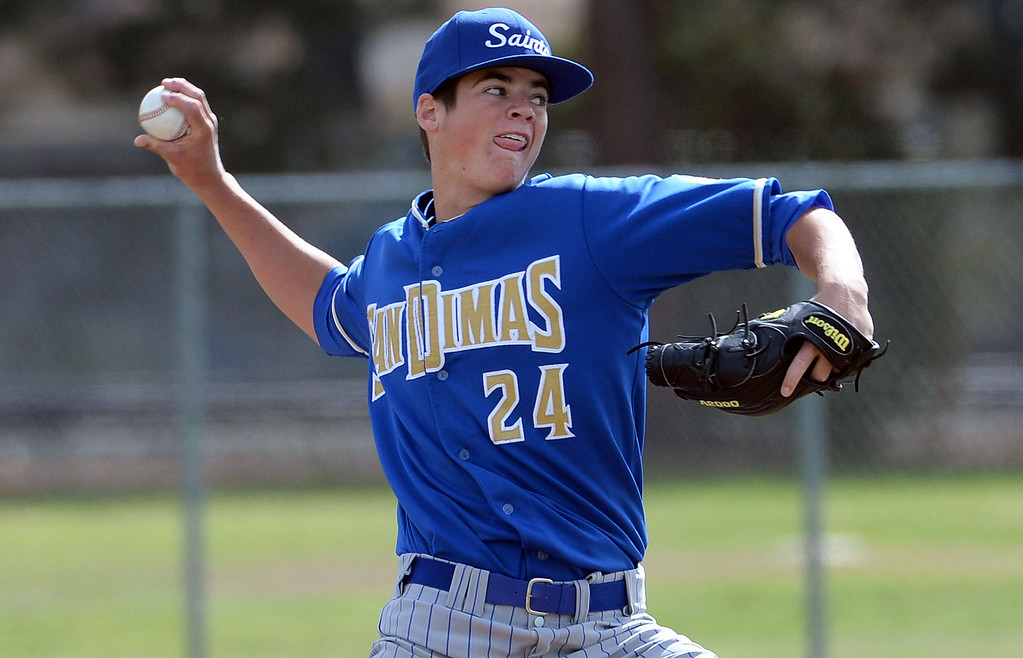 . San Dimas starting pitcher Peter Lambert (C) throws to the plate against Northview in the first inning of a prep baseball game at Northview High School in Covina, Calif., on Wednesday, March 26, 2014. San Dimas won 2-0. (Keith Birmingham Pasadena Star-News)