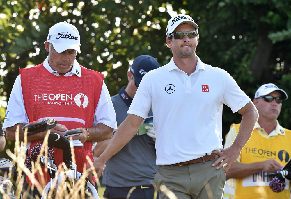 . Australia\'s Adam Scott waits on the 17th green during his first round 68, on the opening day of the 2014 British Open Golf Championship at Royal Liverpool Golf Course in Hoylake, north west England on July 17, 2014. (PAUL ELLIS/AFP/Getty Images)