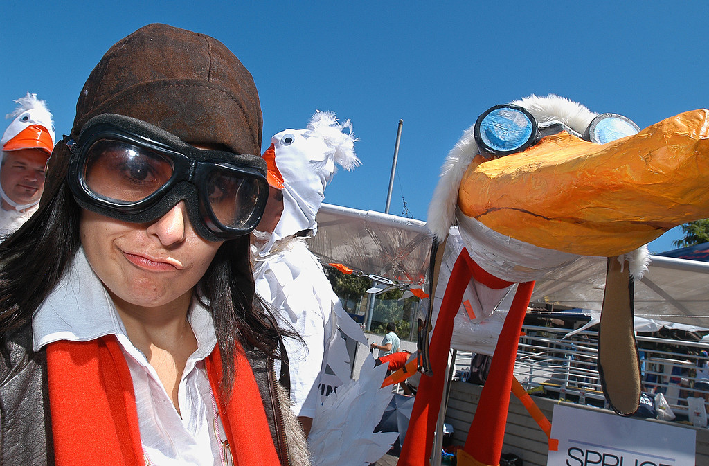 . 08/21/10:  Pilot Amber Cowan with the Long Beach Area Convention & Visitors Bureau, prior to the take off of the Flight of the Spruce Goose 2.0 at the Red Bull Flugtag Long Beach at Rainbow Harbor on Saturday, August 21, 2010..Photo by Diandra Jay/Press-Telegram
