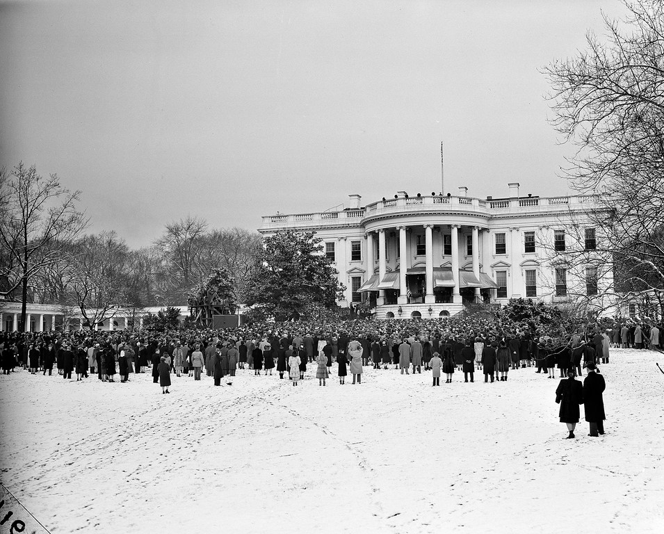 . This is a view of the crowds gathered in Washington D.C., for the fourth inauguration of President Franklin D. Roosevelt, Jan. 20, 1945. (AP Photo)