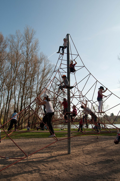 Eiffel Tower shaped play equipment, St. Etienne.