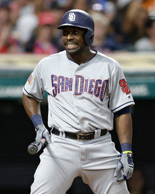 . San Diego Padres\' Jose Pirela reacts after striking out against Cleveland Indians starting pitcher Corey Kluber in the eighth inning of a baseball game, Tuesday, July 4, 2017, in Cleveland. (AP Photo/Tony Dejak)