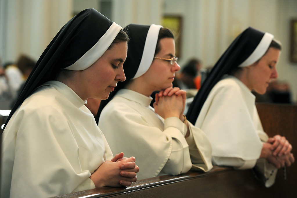 . DENVER, CO- MARCH 13:   Dominican sisters attend an afternoon mass that was held at the Cathedral Basilica of the Immaculate Conception in Denver, CO on March 13th, 2013 after the announcement of the new pope. Jorge Mario Bergoglio, who will be called Francis, will be the 266th pontiff of the Roman Catholic Church. He is also the first non-European pope in more than 1,200 years and the first member of the Jesuit order to lead the church. (Photo By Helen H. Richardson/ The Denver Post)