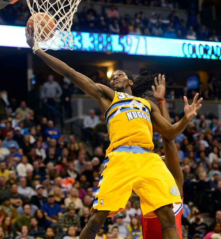 . Denver Nuggets small forward Kenneth Faried (35) cannot convert an alley oop against the Los Angeles Clippers during the first half at the Pepsi Center on Tuesday, January 1, 2013. AAron Ontiveroz, The Denver Post
