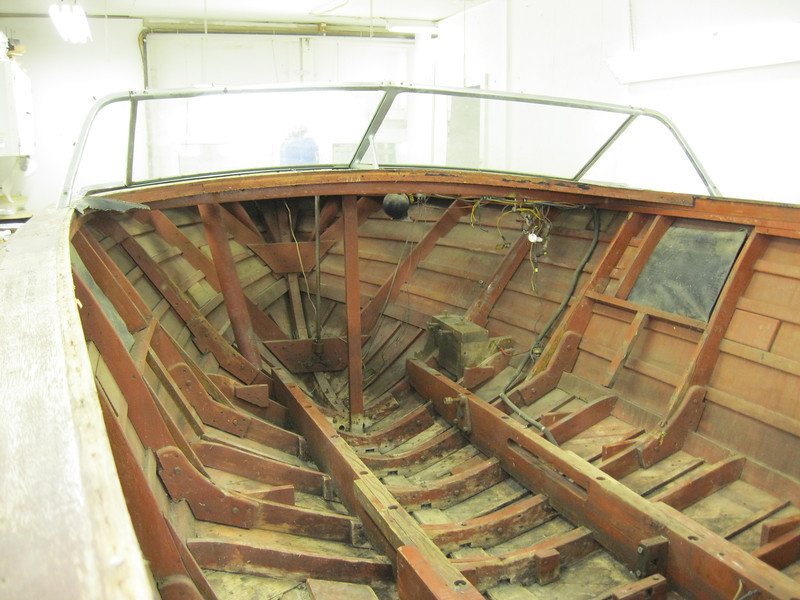 Forward looking view of complete interior removed including the instrument panel.
