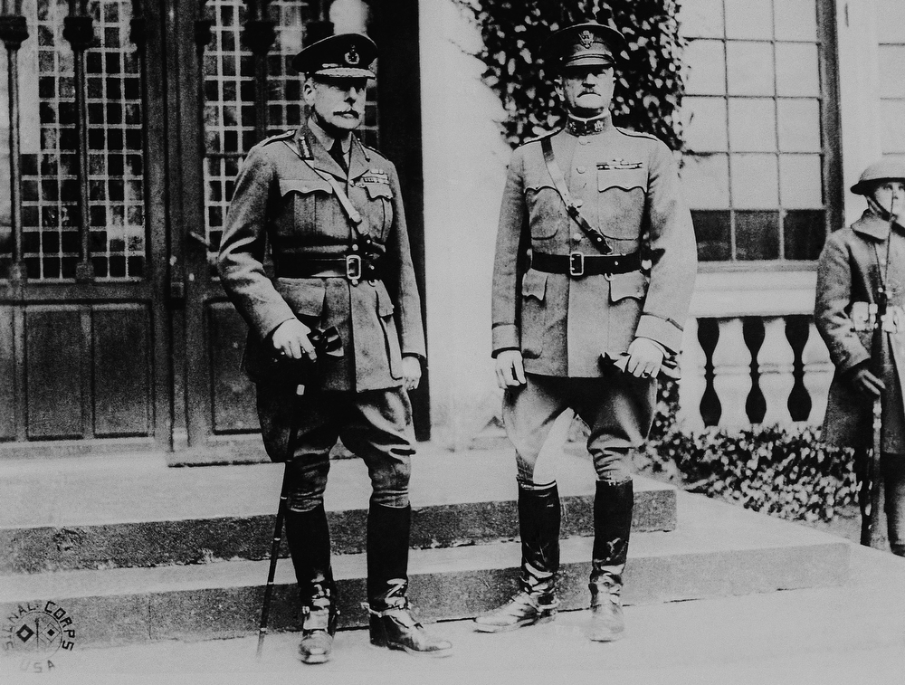 Description of . Gen. John J. Pershing, right, and Sir Douglas Haig are shown at Chateau Val des Ecoliers, April 4, 1919.  (AP Photo)