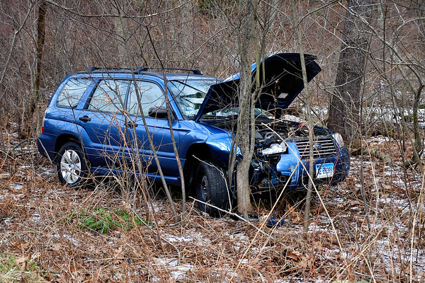 12/27/2019 Mike Orazzi | Staff The scene of a single vehicle crash off Allentown Road in Plymouth on Friday afternoon, the driver was able to get out on their own and no injuries were reported.