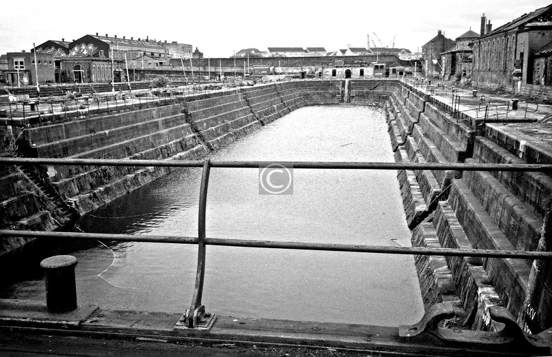 Graving dock no.1 from the east .  July 1975