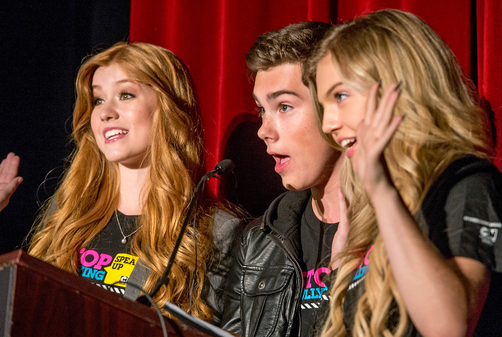 . Cartoon Network performers from left: Kat McNamara, Jeremy Shada and Shauna Case attend an anti-bullying rally at Katherine Edwards Middle School in West Whittier Sept. 23, 2013.  (Staff photo by Leo Jarzomb/SGV Tribune)