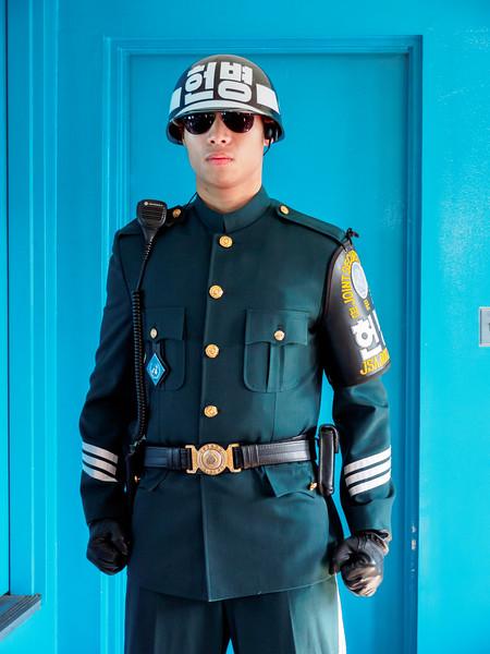 A South Korean ROK soldier guards the door to North Korea