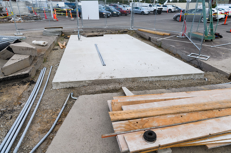New concrete slab poured for a trash compactor at North Salem High School on Friday, August 16, 2019, in Salem, Ore.