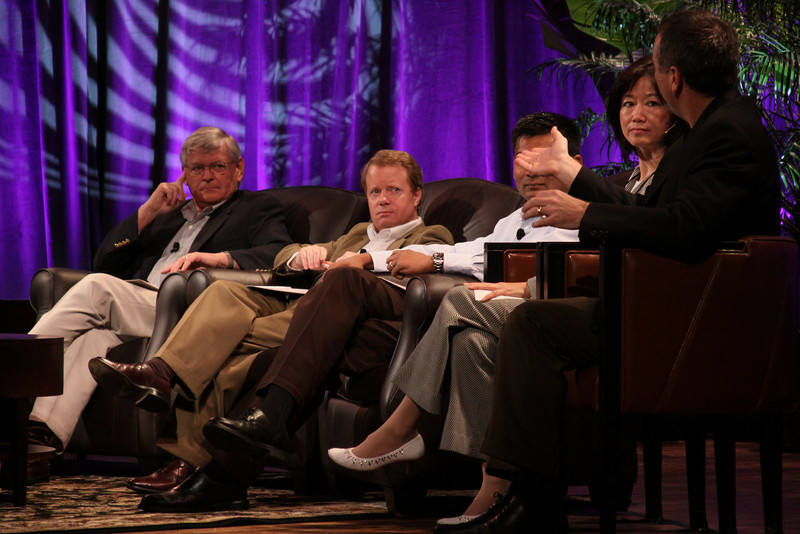 """HOTSPOTS II: Five Personal Views of the Future"": (L-R) David Morris, President and CEO, EcoVerdance; Jim Butler, GM, Communications Sector, Greater China, Microsoft; and Balan Nair, SVP and CTO, Liberty Global; Connie Wong, CEO, Vidiator; and Joe Burton, VP and CTO, Cisco Systems"