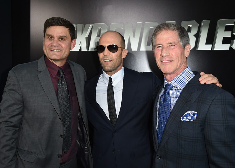 ". Motion Picture Group of Lions Gate Entertainment Corp. President of Acquisitions & Co-productions Jason Constantine, actor Jason Statham and Chief Executive Officer of Lions Gate Entertainment Jon Feltheimer attend the premiere of Lionsgate Films\' ""The Expendables 3\"" at TCL Chinese Theatre on August 11, 2014 in Hollywood, California.  (Photo by Kevin Winter/Getty Images)"