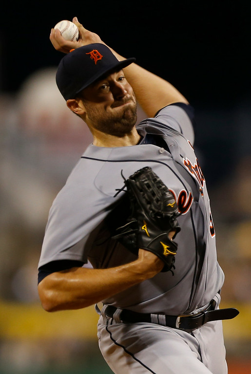 . Detroit Tigers starting pitcher Robbie Ray plays in the baseball game against the against the Detroit Tigers on Tuesday, Aug. 12, 2014, in Pittsburgh. (AP Photo/Keith Srakocic)