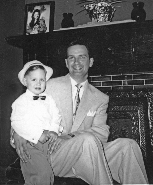 Me and my Dad 1952. Picture of my mom on the mantel.