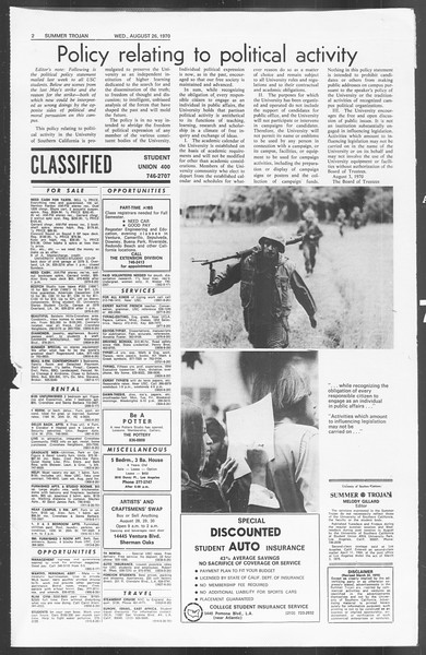 Summer Trojan, Vol. 62, No. 14, August 26, 1970