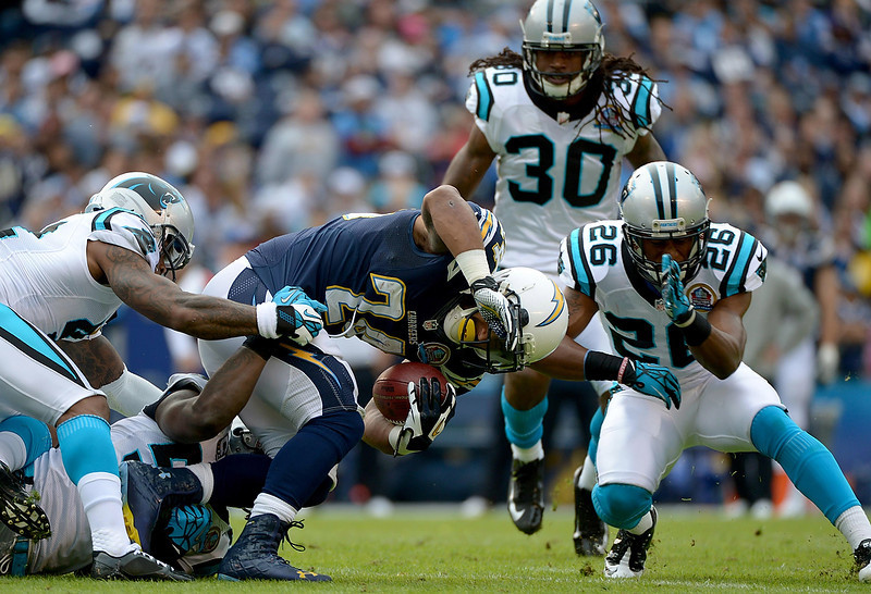 . Ryan Matthews #24 of the San Diego Chargers runs the ball against the Carolina Panthers on December 16, 2012 at Qualcomm Stadium in San Diego, California. (Photo by Donald Miralle/Getty Images)