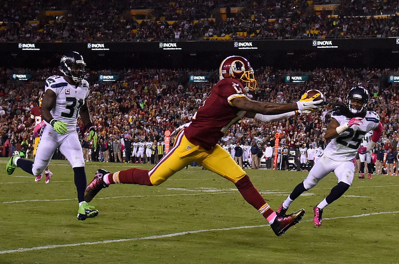 . Wide receiver DeSean Jackson #11 of the Washington Redskins makes a second quarter touchdown catch against the Seattle Seahawks at FedExField on October 6, 2014 in Landover, Maryland.  (Photo by Patrick Smith/Getty Images)