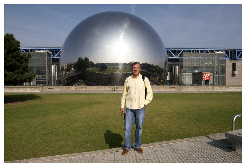 """Dale in front of the """"Geode"""".  I had to swear to the security guard that I wasn't taking commercial photographs."""