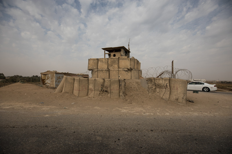An abandoned military outpost beside the road, left over from the time of the US occupation, east of Najaf.